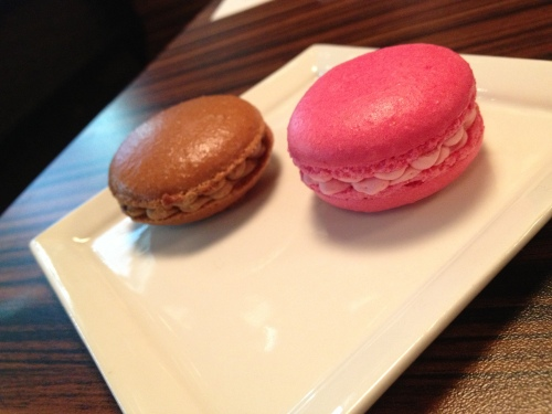 Left: Coffee Gelato-Macaroon  Right: Rose Gelato-Macaroon