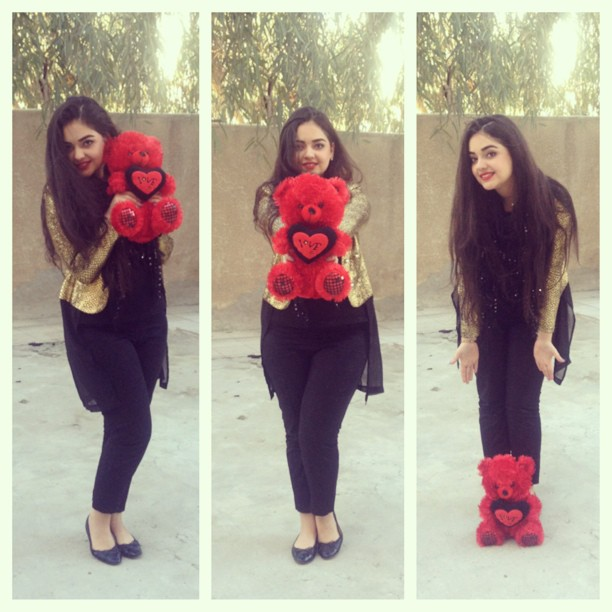 My V-Day look, and no I didn\t take the teddy with me :p